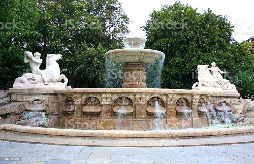 Wittelsbach Fountain on Maximiliansplatz, Munich stock photo
