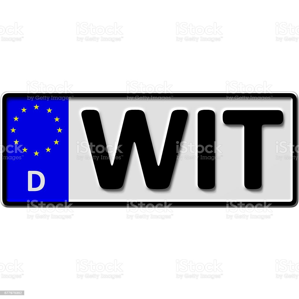 Witten license plate number stock photo