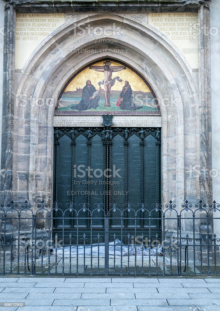 Wittenberg, famous door where Martin Luther nailed the ninety-five theses stock photo