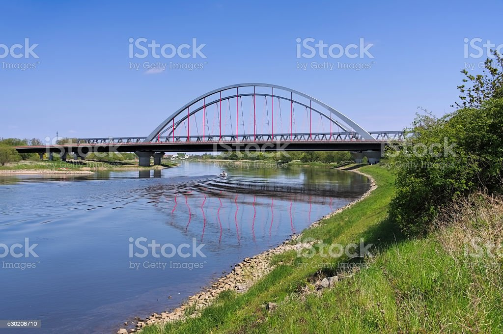 Wittenberg, the bridge and river Elbe stock photo