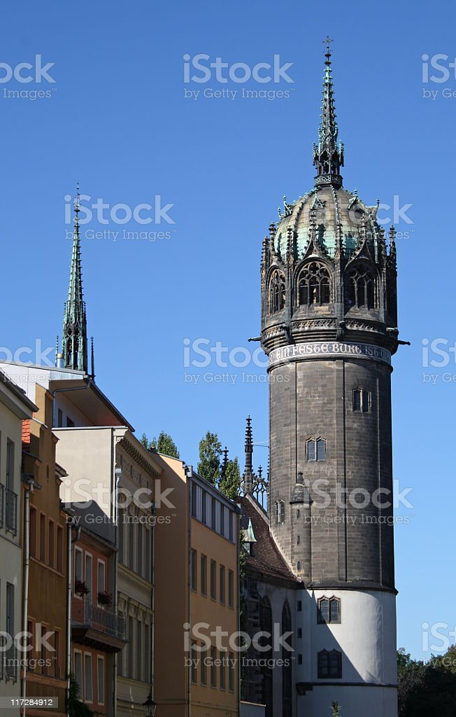 Wittenberg, Tower of All Saints Church stock photo