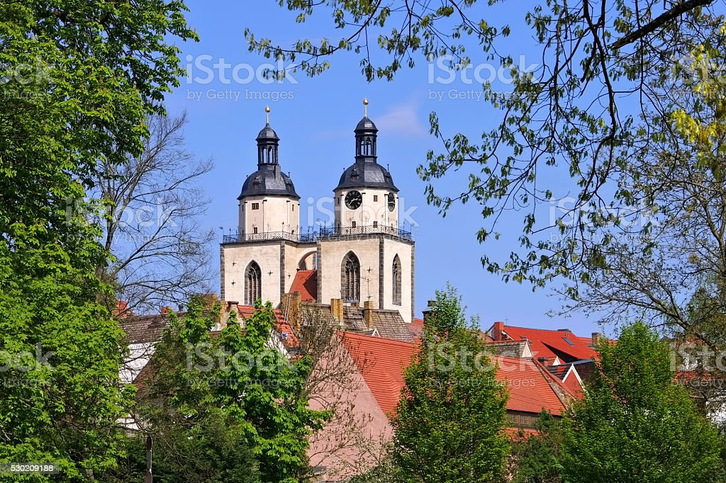 Wittenberg Town and Parish Church of St. Mary's stock photo