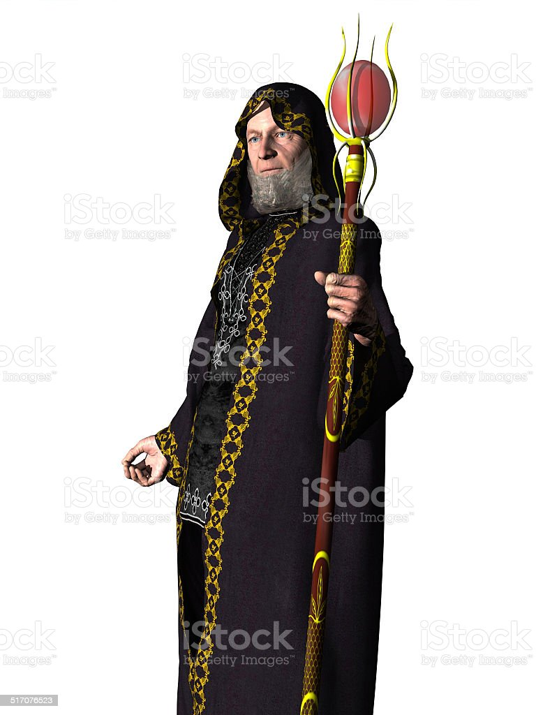 Wizard in robes with staff stock photo