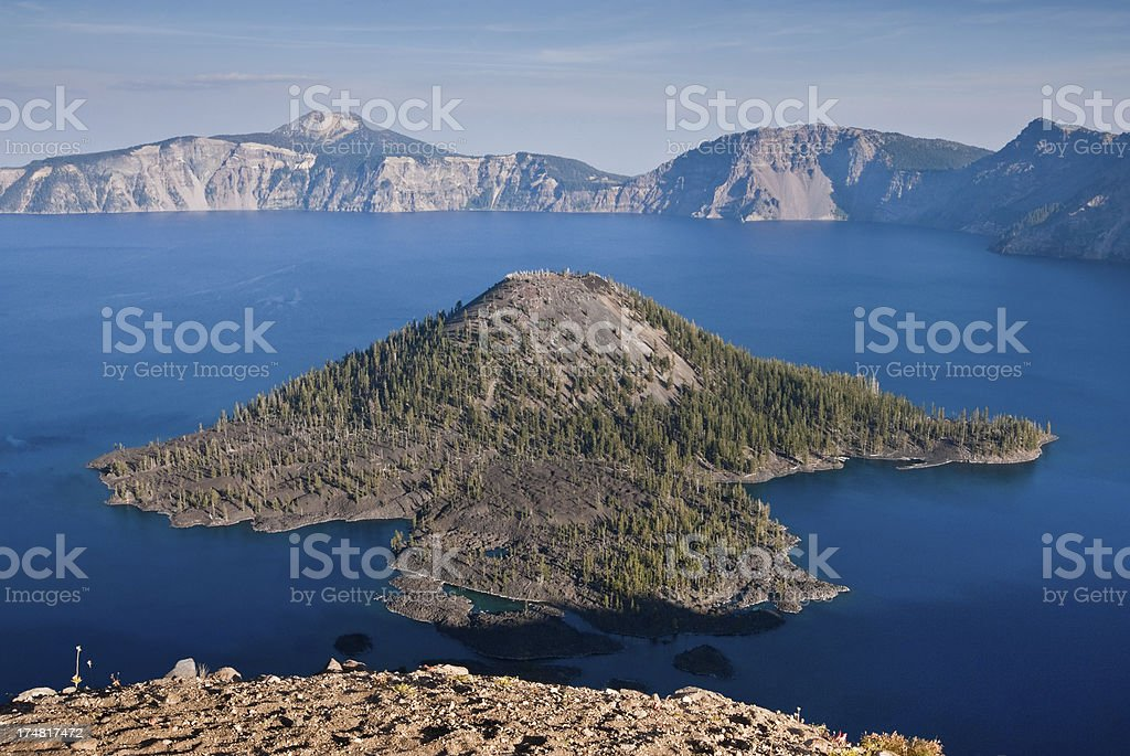 Wizard Island and Crater Lake royalty-free stock photo