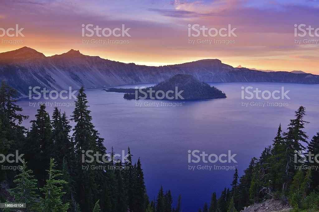 Wizard island at Crater Lake National Park stock photo