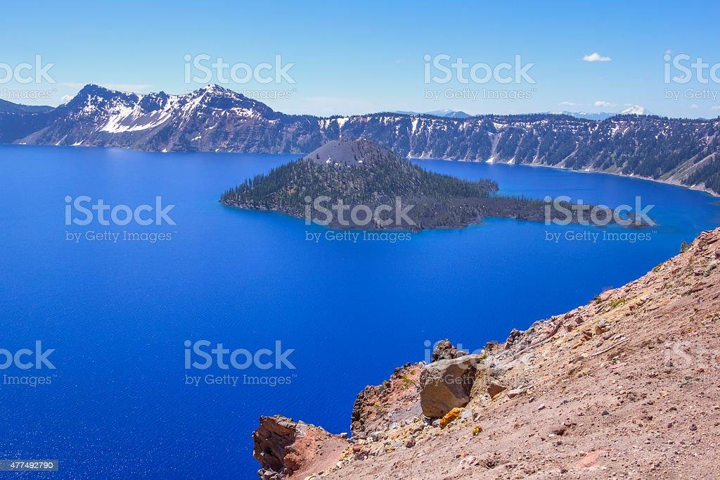 Wizard Island in Scenic Crater Lake Oregon stock photo