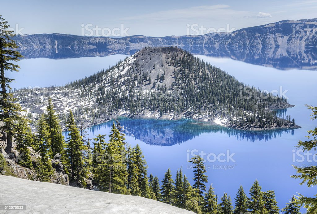 Wizard Island of Crater Lake National Park, Oregon stock photo