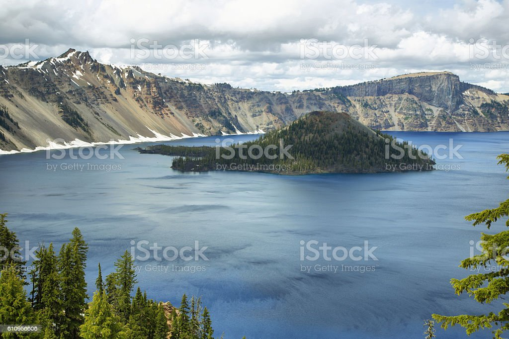 Wizard Island on Crater Lake stock photo