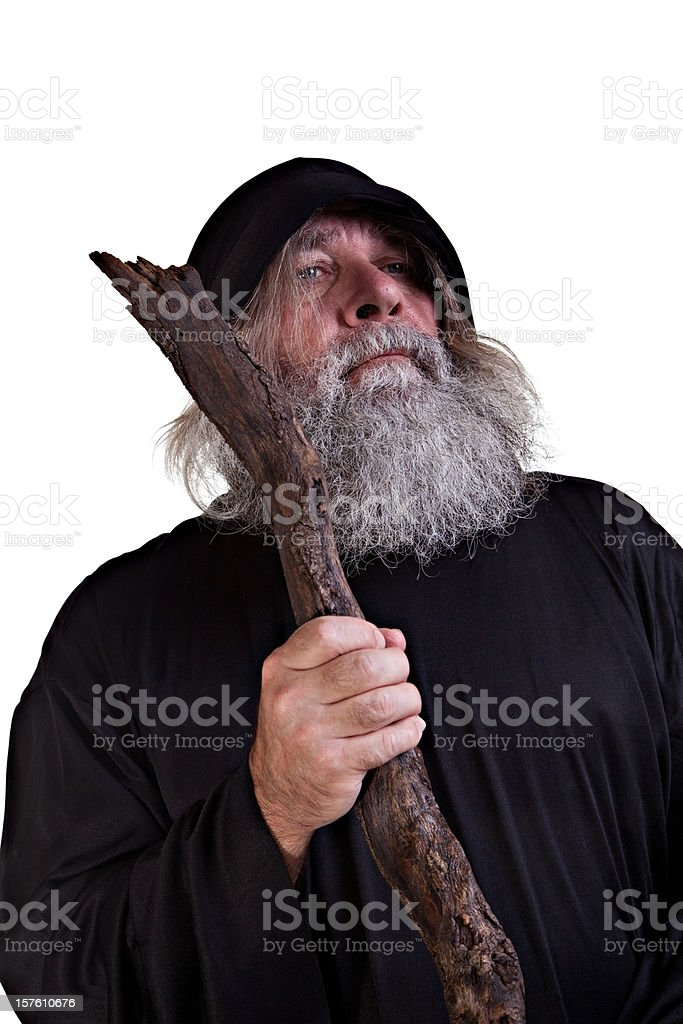 Wizard  With his wooden Staff stock photo