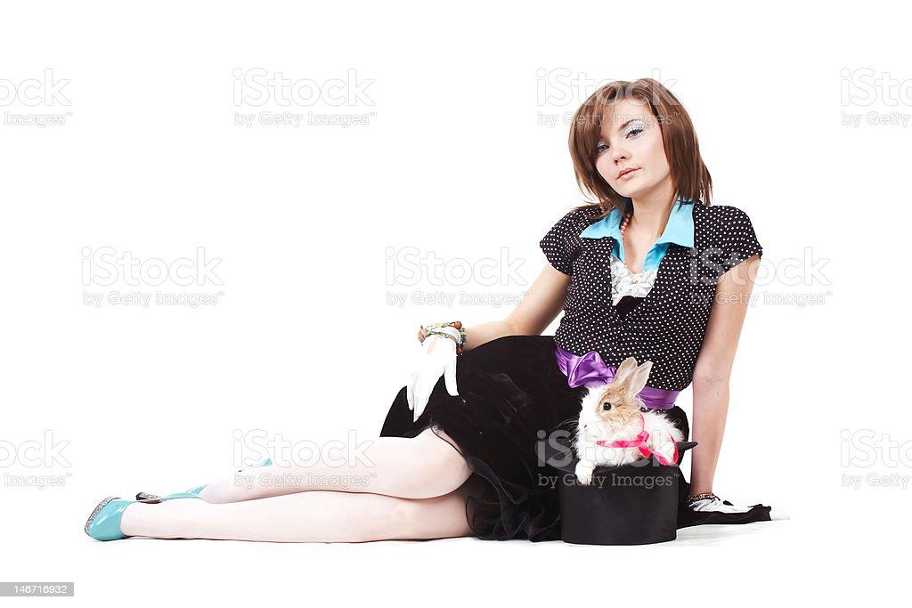 Wizard woman with magic rabbit stock photo