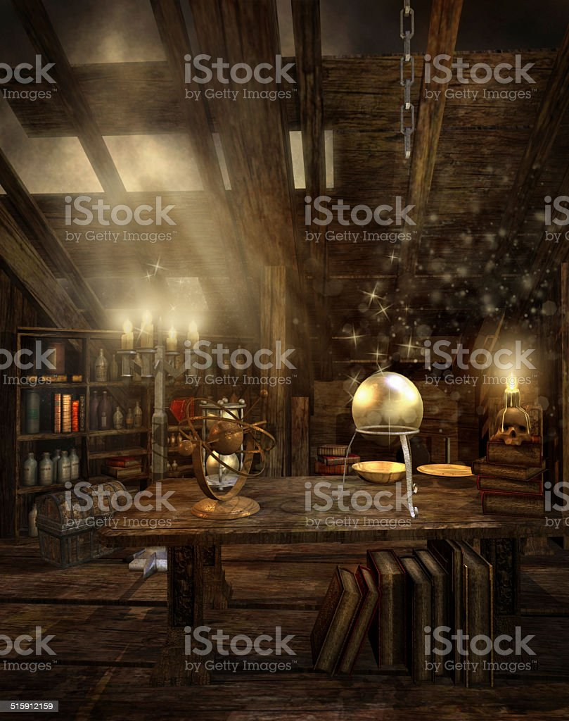 Wizard's attic stock photo