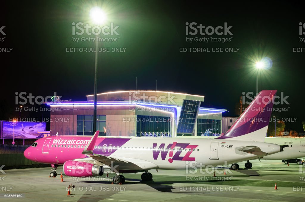 KIEV, UKRAINE - MAY 2: Wizzair Aircraft at Kiev Airport Juliany, night at airport. May 2, 2017. stock photo