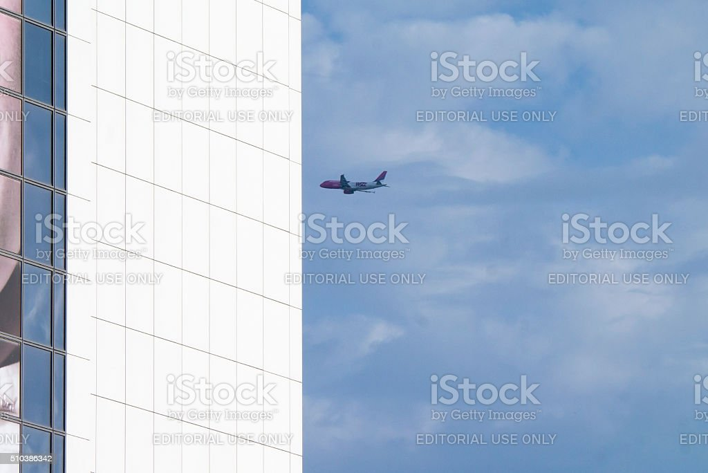 Wizzair Boeing on the sky. stock photo