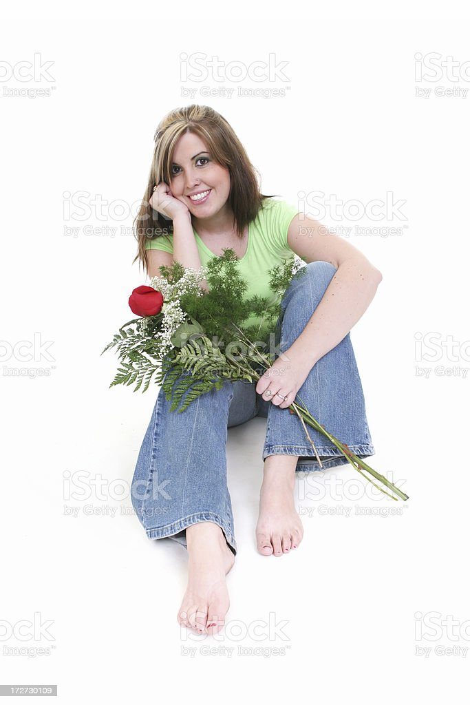 Wman with Roses stock photo