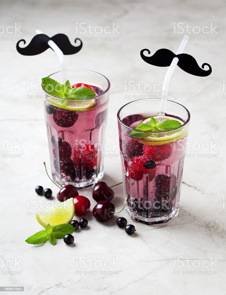 wo glasses of berry lemonade stock photo