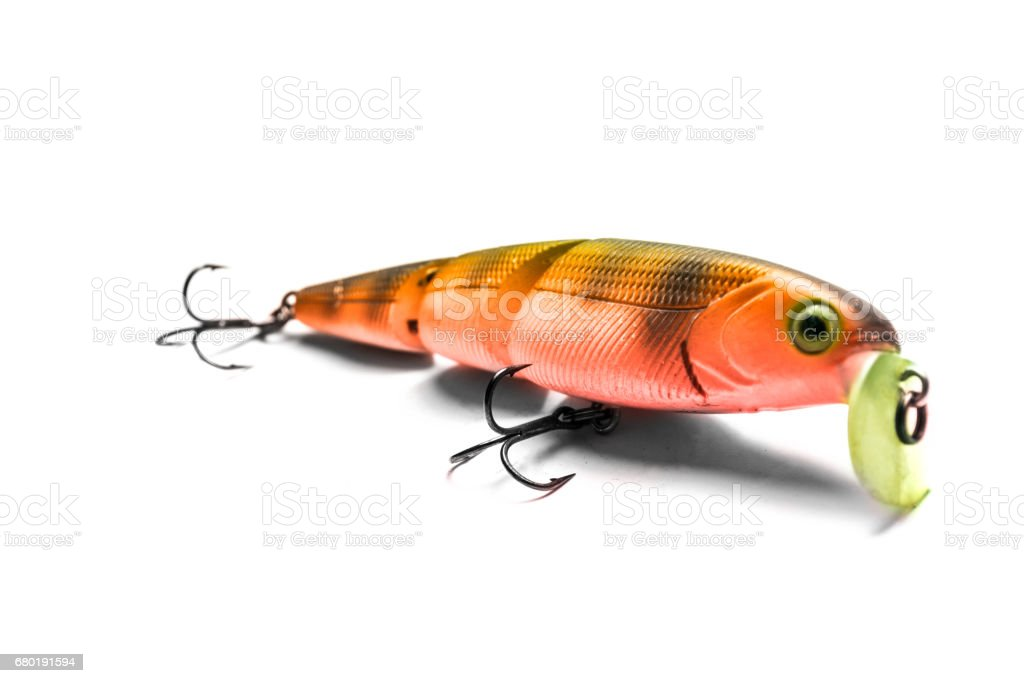 Wobbler for fishing isolated on white background stock photo