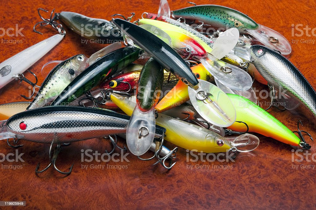 wobblers on wood background stock photo