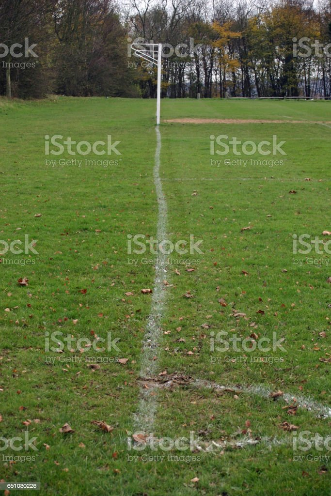 Wobbly football pitch goal line stock photo