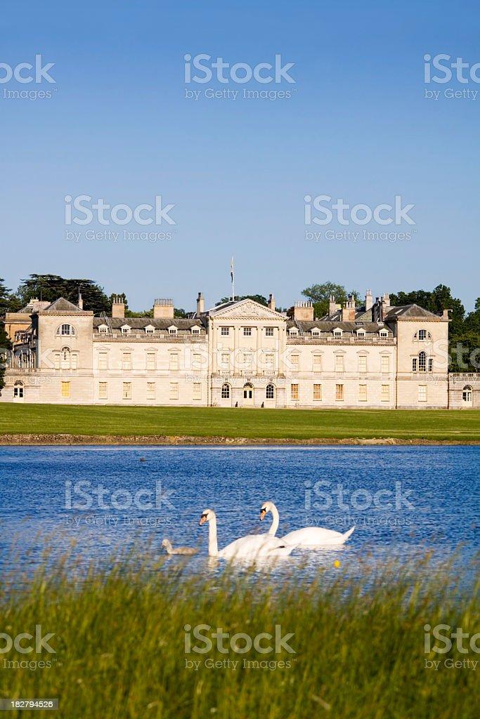 Woburn Abbey and Lake stock photo