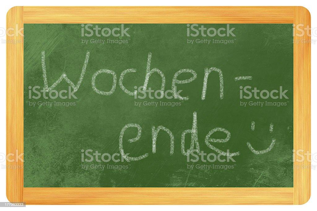 Wochenende on a blackboard royalty-free stock photo