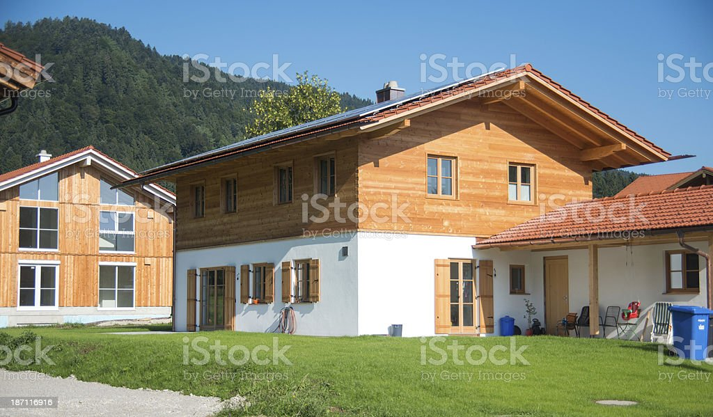 wodden bavarian house - Neubau stock photo
