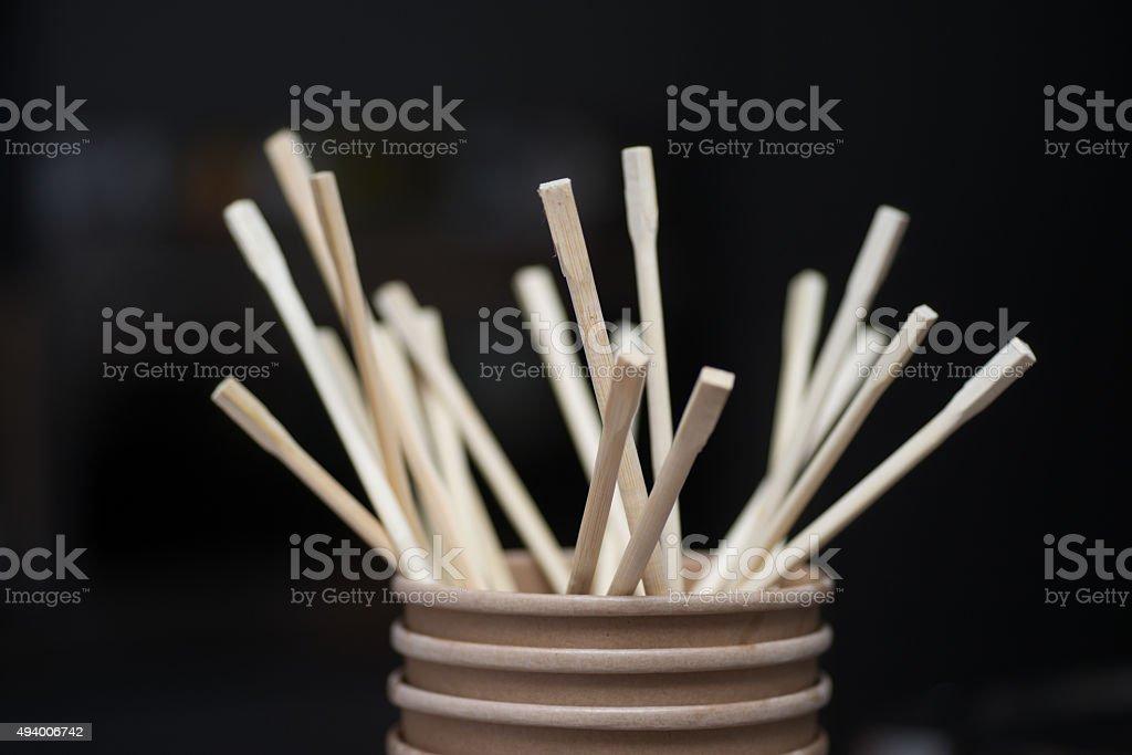wodden chopsticks before black background stock photo
