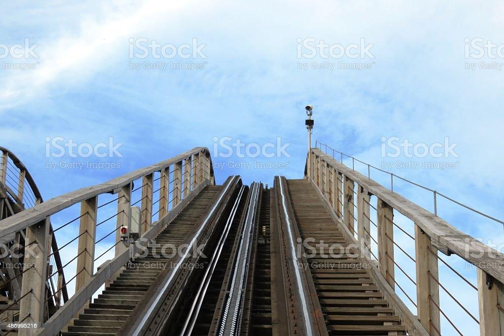 Wodden roller coaster stock photo