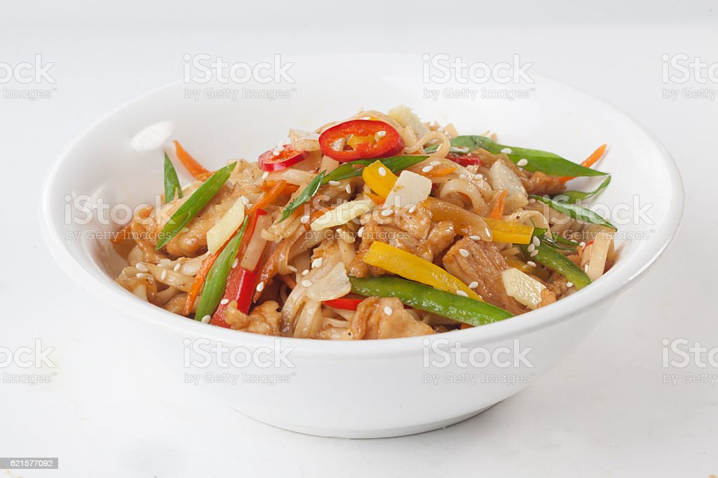 wok noodles with beef vegetables, ginger, plate isolated stock photo