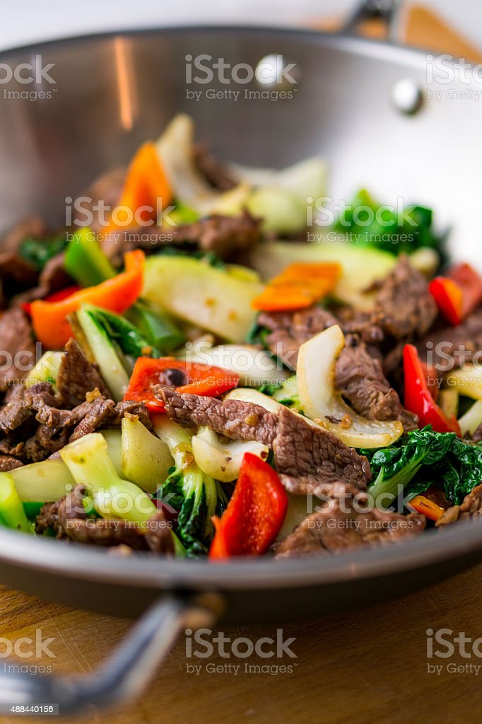 Wok Stir Fry With Beef & Vegetable stock photo