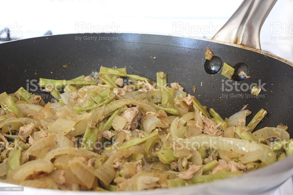 Wok with vegetables and tuna fish royalty-free stock photo