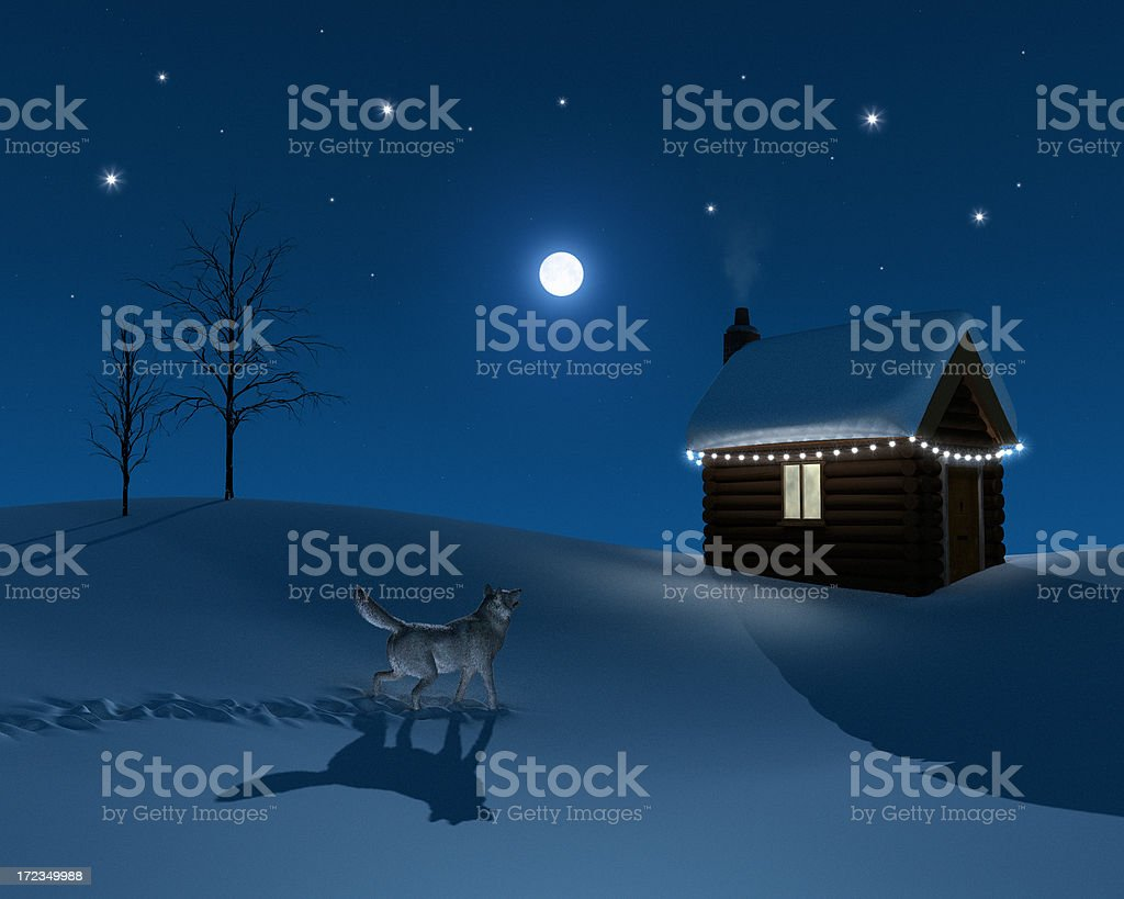 Wolf at the Log Cabin royalty-free stock photo