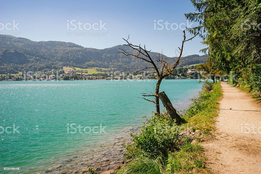 Wolfgangsee lake and Sankt Gilgen village, Austria stock photo