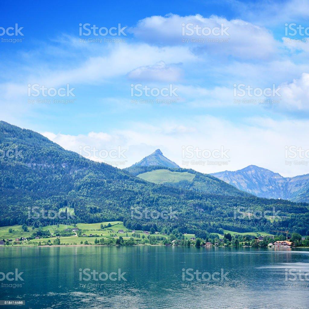 Wolfgangsee lake stock photo