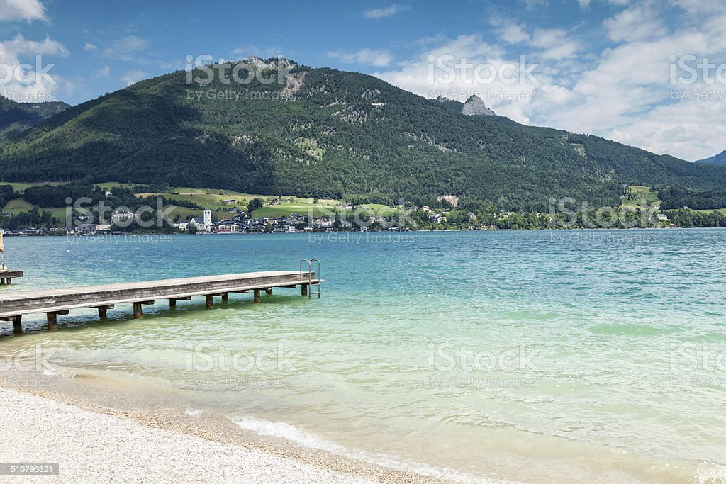 Wolfgangsee lake with turquoise waters in Austria stock photo