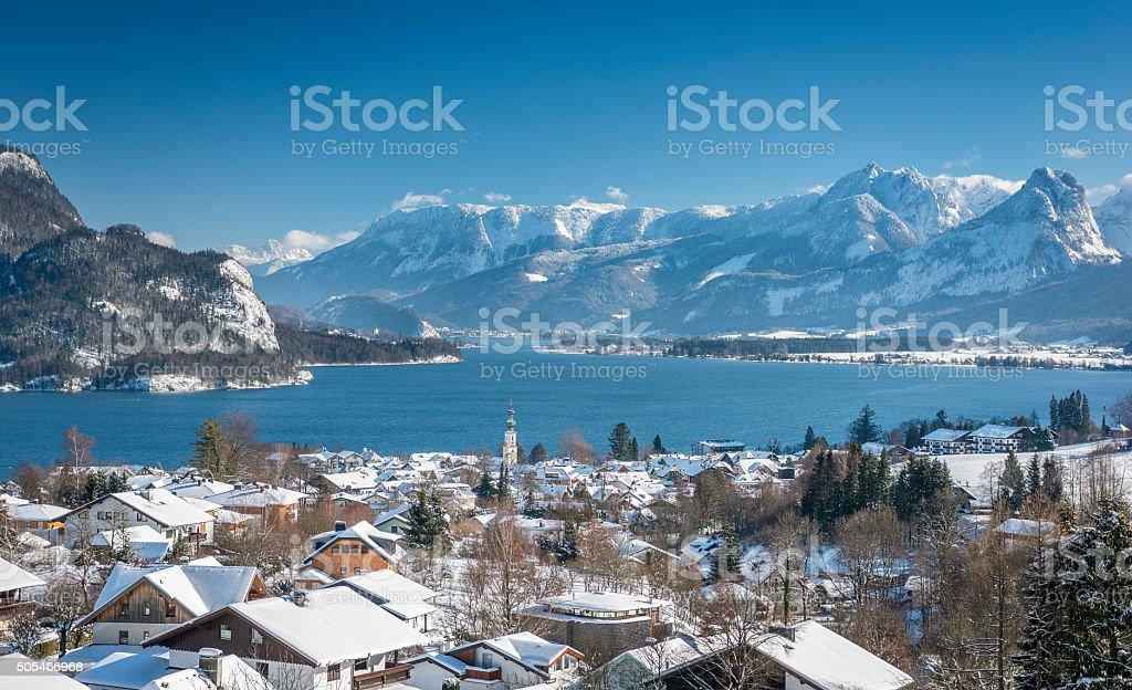 Wolfgangsee, St. Gilgen, Beautiful Winter Panorama stock photo