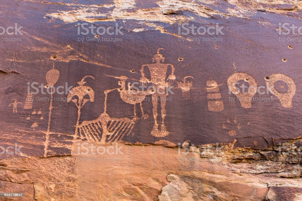 Wolfman Petroglyph Panel in Lower Butler Wash stock photo