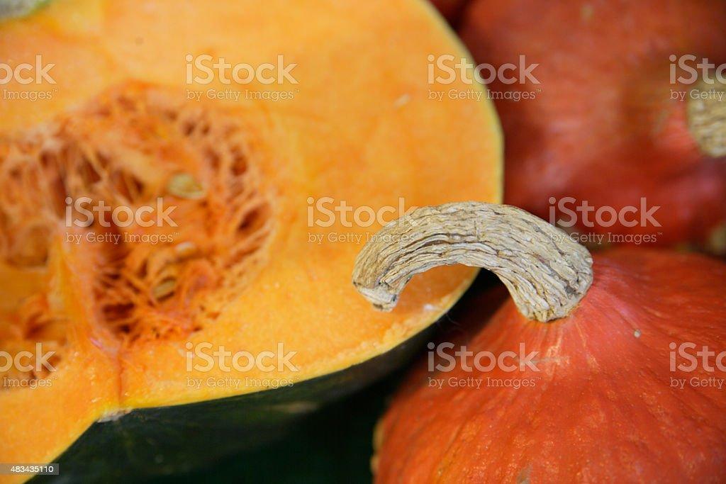 Wolfratshausen,Muscat and hokkaido pumpkin in market,close up stock photo