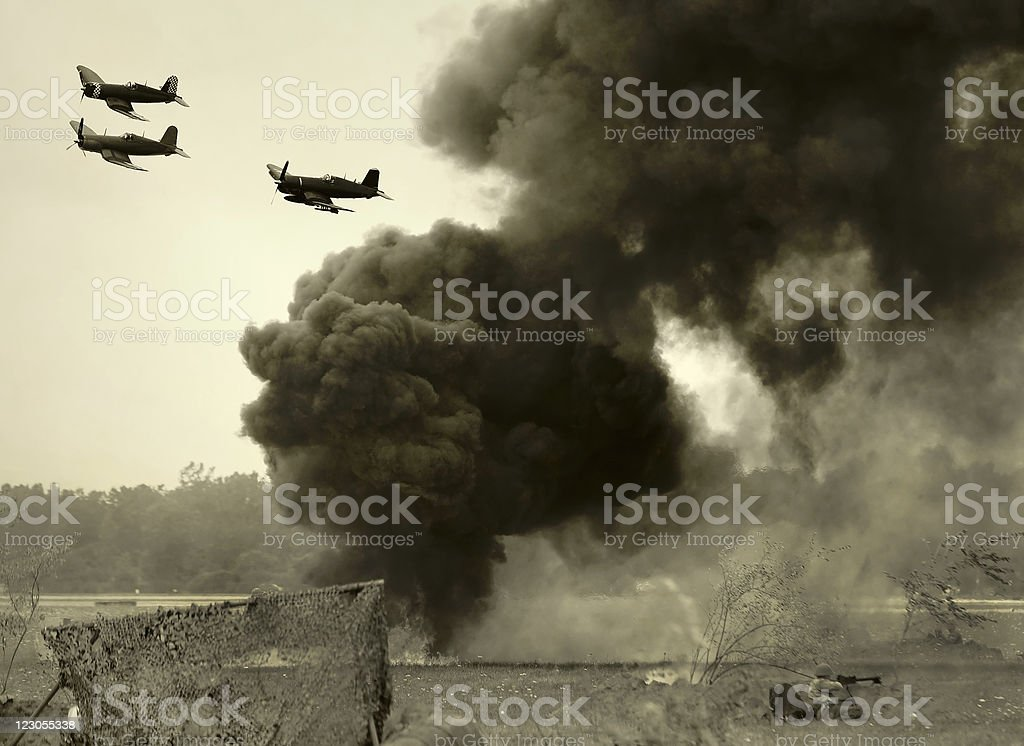 Wolrd War II era battle stock photo