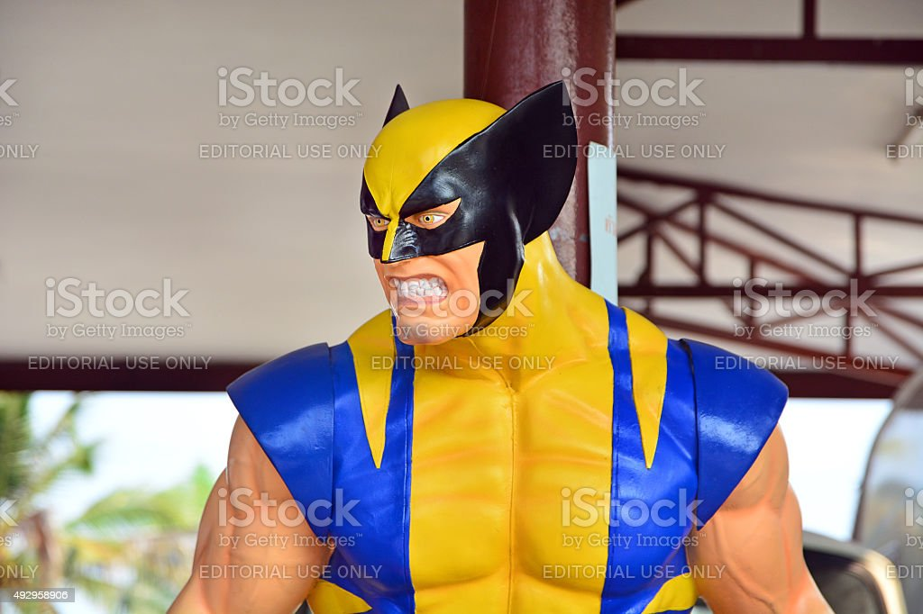 Wolverine model at Thung Bua Chom floating market stock photo