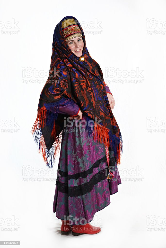 Womain in Russian northern costume royalty-free stock photo