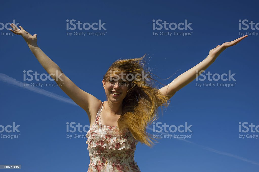 woman a flowing hair royalty-free stock photo