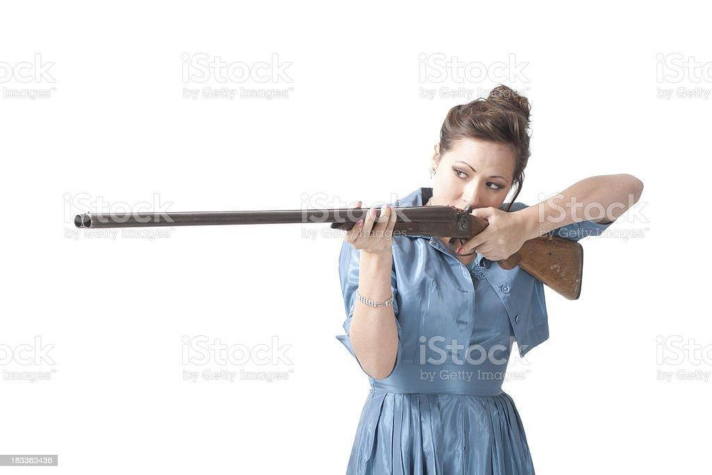 Woman a shotgun stock photo