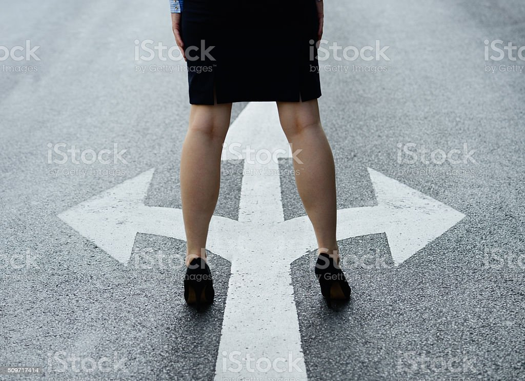 Woman about to make a decision stock photo