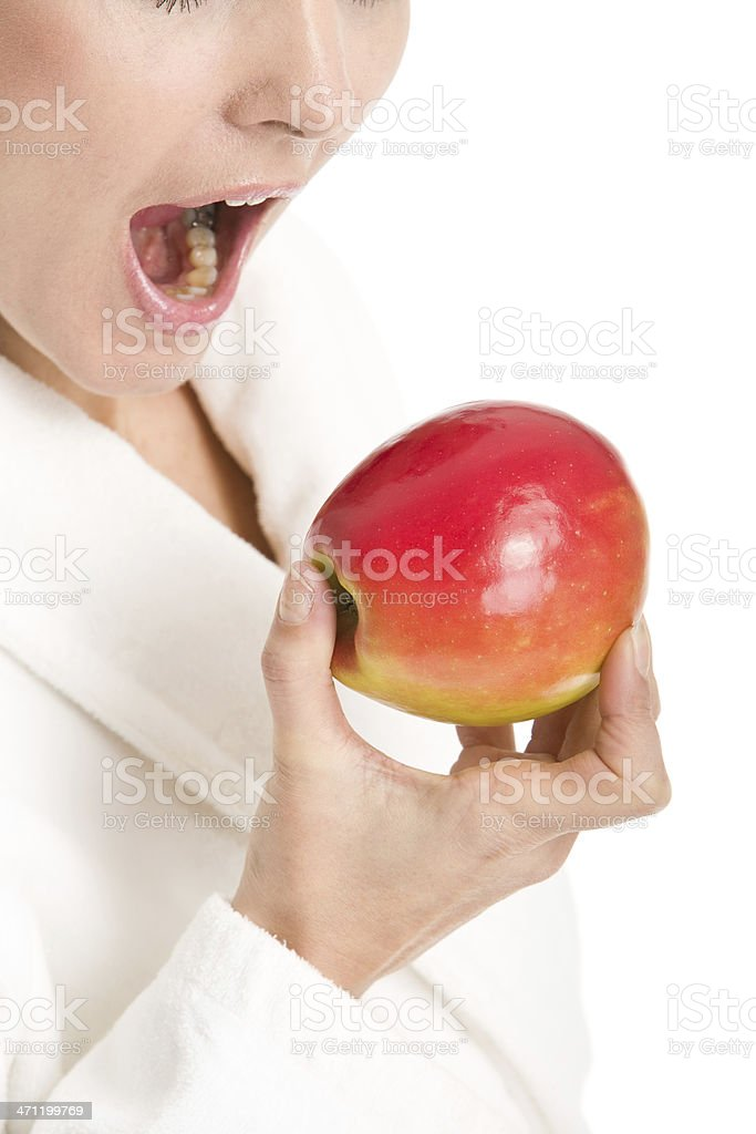 Woman about to take a bite stock photo