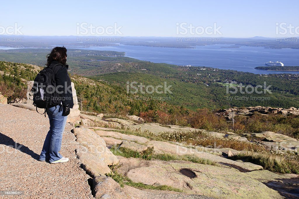 Woman admiring the view of a cruise ship stock photo