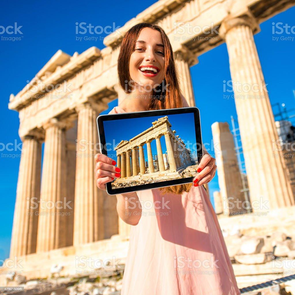 Woman advertising Acropolis stock photo