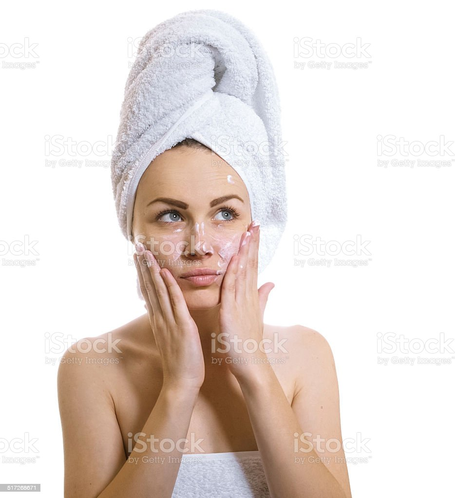 Woman after bathing stock photo