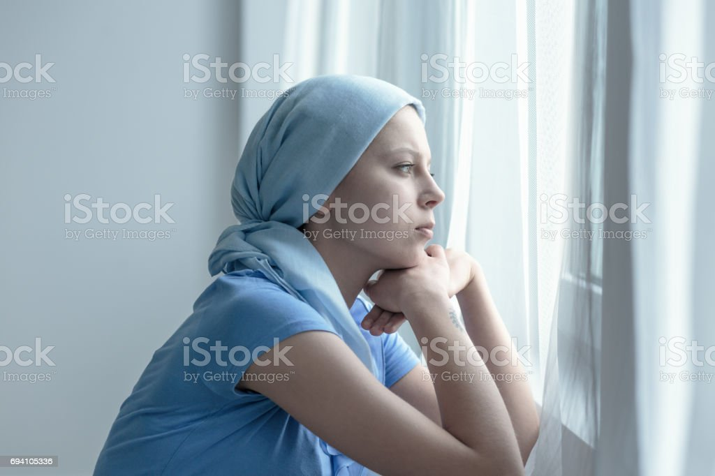 Woman after radiation therapy stock photo