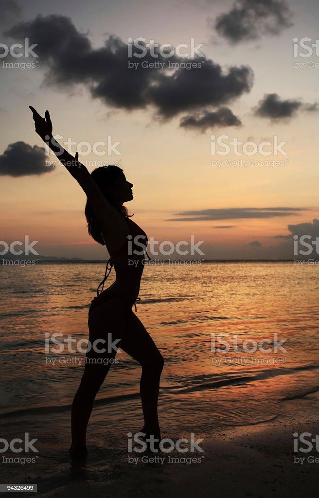 Woman against sunset. stock photo