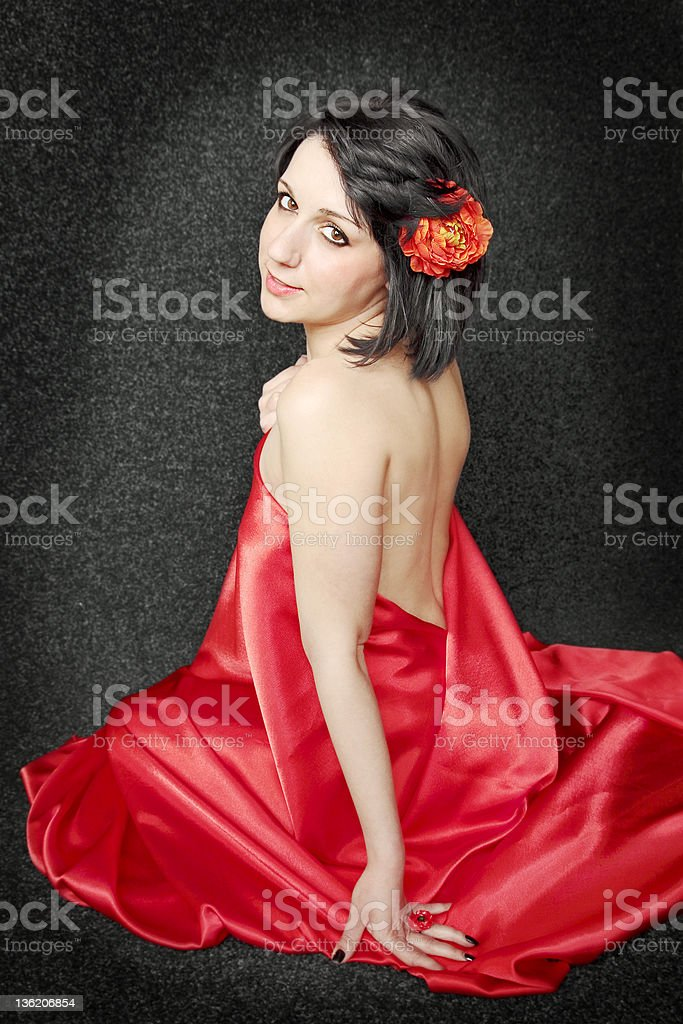 Woman against the dark royalty-free stock photo